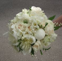 Peonies, lily of the valley, freesia, ranunculas, vendela roses - bridal bouquet