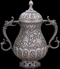 218. Antique Silver Vase, Kashmir, India