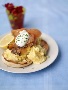 scrambled egg muffins with smoked salmon & soured cream Jamie Oliver Food Jamie Oliver (UK) Egg Recipes, Fish Recipes, Cooking Recipes, Muffin Recipes, Salmon Recipes, Christmas Brunch, Christmas Breakfast, Christmas Recipes, Christmas Catering