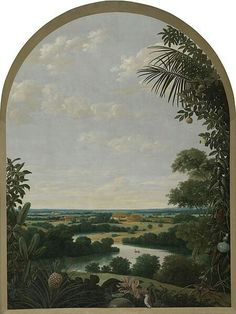 Frans Post (1612–1680) Landscape in Brazil. View from in between plants to a river landscape with plantations. On the foreground tropical plants (pineapple, calabash, cactus) and animals (bird, grasshopper).  Date1652Mediumoil on canvasDimensionsHeight: 282.5 cm (111.2 in). Width: 210.5 cm (82.9 in).Current location  Rijksmuseum Amsterdam