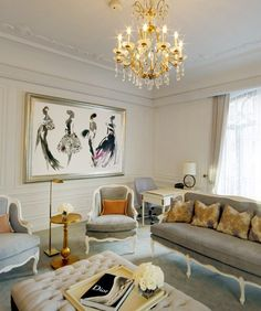 Chanel suite at St. Regis NY  White chair w micro suede