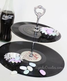 Upcycled Vinyl Record Tiered Display by Lynda Creates, featured on Funky Junk Interiors