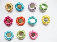 55pc Assorted Gypst Hippy Crochet Mirror Bead Appliques (11 color) cf2