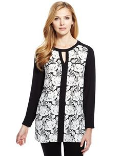 M&S Collection Front Floral Lace Print Tunic - Marks & Spencer
