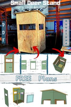 Free plans for you to build a small deer stand. This is an easy to do project, that requires common materials and basic skiils. The diy plans come with step by step instructions and full C Woodworking Workshop Plans, Best Woodworking Tools, Woodworking Furniture Plans, Beginner Woodworking Projects, Carpentry Projects, Woodworking Vise, Popular Woodworking, Pallet Furniture, Wood Projects