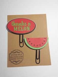 Thanks a Melon Clips/ Planner Clips/ Green/ Red/ Glam Planner/ BookMark/ Gift Item/ Happy Planner/ Thank You/ Hand Crafted/ ladydeeplanners by ladydeeplanners on Etsy