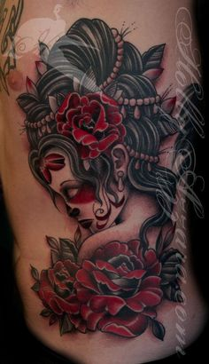 Traditional Day Of Dead Girl with Red Roses