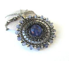 horizon blue - silver iolite fluorite wire wrapped necklace
