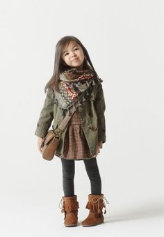 Minus the moccasins, I'd put her in like.. little dark brown combat boots :)                                                                                                                                                      More