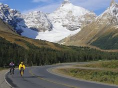 Road Bicycling on the Icefields Parkway, Banff National Park, Alberta, Canada