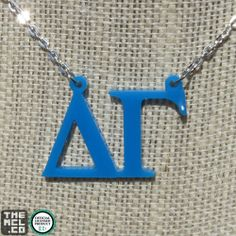 "Delta Gamma Floating Letters Necklace on 16"" chain"