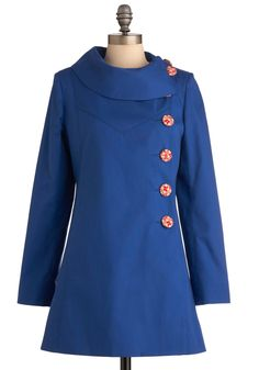 Mod for It Coat in Lake Blue - Vintage Inspired, 60s, Blue, Red, Solid, Buttons, Long Sleeve, Spring, Long, 2.5