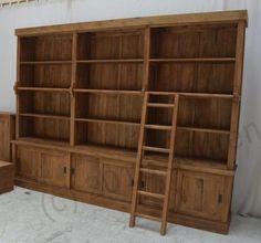 Teak boekenkast met ladder afbeelding 1