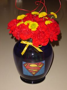 Whimsical Welcomes Floral Design: Superman party Superman Baby Shower, Superman Party, Superman Birthday, Superhero Theme Party, Adoption Party, Party Centerpieces, Centrepieces, 50th Birthday Party, Birthday Ideas
