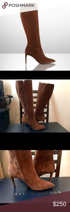 Ralo Lauren collection. Knee high boots Women's Chestnut Suede Artilah High-Heel Boot... chic and elegant! Never worn... excellent condition Ralph Lauren Shoes Heeled Boots