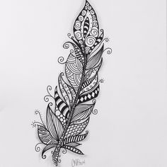 Zentangle feather by pinkadoo. zentangle feather by pinkadoo feather drawin Mandalas Painting, Mandalas Drawing, Zentangle Drawings, Zentangle Patterns, Doodle Drawings, Doodle Art, Zentangles, Feather Drawing, Feather Painting