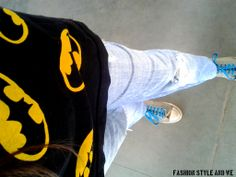 Sneakers at Ginger, Lifestyle  - Batman tee- with turquoise blue sneakers and ripped jeans! the who gives the f look!!