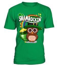 SHAMROCKIN OWL- T  #gift #idea #shirt #image #lovemypet #dog #cat