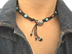 Howlite Turquoise Silver Accents Hand Braided by JaspersDream, $27.50