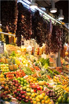 Barcelona food market – the Mercado de la Boqueria at Las Ramblas - Barcelona, Spain