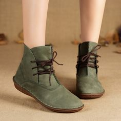 Cheap ankle boots, Buy Quality designer ankle boots directly from China lace ankle boots Suppliers: Mori Girl Hand-made Flat Ankle Boots 100% Full grain Natural Leather Elastic Rubber So
