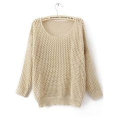 Beige Round Neck Long Sleeve Hollow Cotton Blends Sweaters ($29) ❤ liked on Polyvore