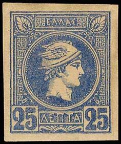 Auction House specialized in stamps, coins, banknotes, rare maps and books of Greece and many other foreign countries. Athens, Greece, Vintage World Maps, Auction, Stamp, Blue, Greece Country, Stamps