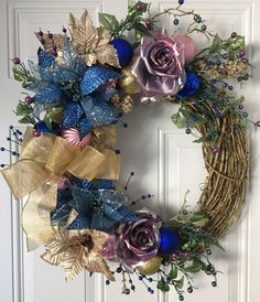 Holiday wreaths, Christmas wreaths, Christmas decor, holiday decoration, winter, Midnight Summer Dream, Gold, blue, purple