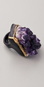 Ring | Adina Mills. Raw amethyst stone, enamel,  painted gold accents