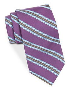 Brooks Brothers Silk Houndstooth-Striped Tie Men's Purple