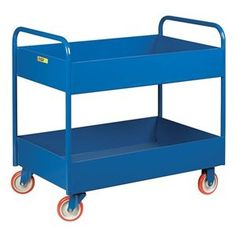 Utility Cart, Lip Up, 2 Shelf, 36x24, Blue by Little Giant. $476.83. Utility Cart, Lip Up Shelves, Load Capacity 800 lb., Welded Steel Construction, Gauge Thickness 12, Powder Coat Finish, Color Blue, Overall Length 38 In., Overall Width 24 In., Overall Height 36 In., Number of Shelves 2, Caster Size 5 In., Caster Type 2 Rigid, 2 Swivel, Caster Material Polyurethane, Capacity per Shelf 600 lb., Distance Between Shelves 13 In., Shelf Length 36 In., Shelf Width 24 In., 6...