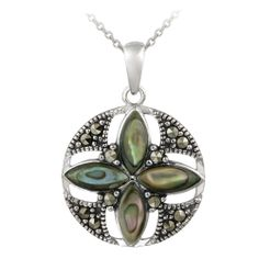Sterling Silver Abalone & Marcasite Round Flower Pendant