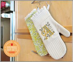 Monogrammed Oven Mitts: Embroidering with Aurifil & Janome | Sew4Home