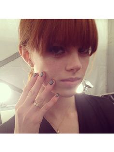 Outlined nails at Charlotte Ronson #nyfw