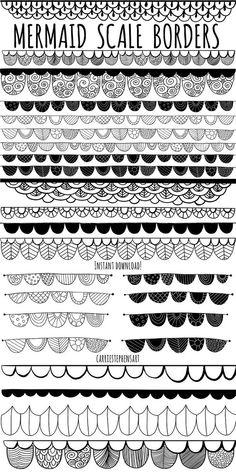 Mermaid ClipArt Borders, Mermaid Scales, Girls Lace Border Doodle Clip Art Graphics, Scallops, Under Doodle Art Drawing, Zentangle Drawings, Mandala Drawing, Art Drawings, Zentangles, Lace Drawing, Mandala Doodle, Mandala Art Lesson, Croquis Mandala