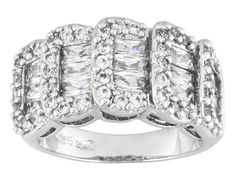 Bella Luce (R) 4.04ctw Rectangle And Round Rhodium Plated Sterling Silver Ring