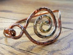 Spiral Copper Bangle Bracelet by Dajamana on Etsy,