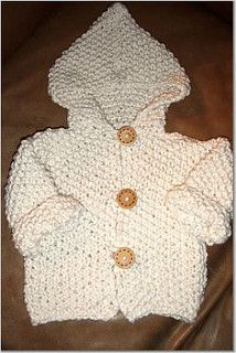 """from carol: """"We couldn't resist. Even though knitting isn't always too fascinating to watch on television, this cute and easy sweater that knitter Lynne Foster designed was too tempting not to feature it on the show. The sweater is cute enough that any knitter who knows a young baby would be tempted to make one of these, and it is also so easy that it makes a perfect project for a first-time knitter to try. The trickiest part is sewing it together."""