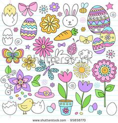 Easter Notebook Doodles Vector Design Elements Set with Daffodils, Bunny, Easter Eggs, and Chicks on Lined Sketchbook Paper Background - stock vector Easter Drawings, Doodle Drawings, Doodle Art, Doodle Images, Notebook Doodles, Christmas Doodles, Bullet Journal Inspiration, Paper Background, Daffodils