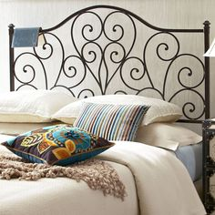 For those who heart vintage-style headboards: Our wrought iron design is accented with heart-shaped scrolls, graceful curves and traditional finials, then finished with hand-applied color for an antiqued—dare we say heart-warming—effect. Wrought Iron Headboard, Black Headboard, Full Headboard, Queen Headboard, Headboard Ideas, Japanese Style Bed, Modern Home Furniture, Iron Decor, Bed Styling