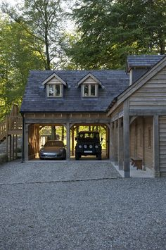 Carport Designs, Garage Design, Exterior Design, Carport Ideas, House Extension Design, House Design, Plan Garage, Border Oak, Oak Framed Buildings
