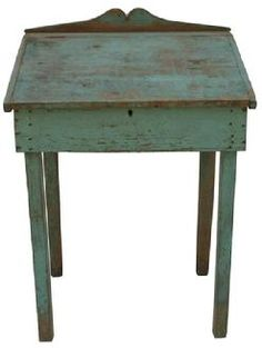 Eastern Shore Maryland civil war era Desk with original blue paint, nailed construction 23 deep x 29 wide x tall back front 32 Primitive Furniture, Primitive Antiques, Country Furniture, Antique Furniture, Painted Furniture, Gothic Furniture, Primitive Country, Ikea Furniture, Furniture Stores