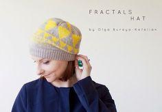 Fractals Hat by Olga Buraya-Kefelian | hat, knitwear, knitting, knitting pattern, colourwork knitting, colorwork knitting, geometric design, triangles, yellow and grey