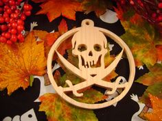 Halloween skull ornament Hand crafted by Sean by carvingsbysean, $10.00