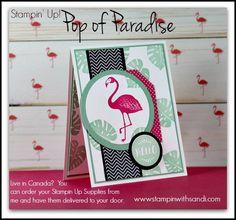 Stampin Up Pop of Paradise Pink Flamingo card by Sandi @ www.stampinwithsandi.com