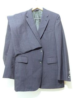 Ending Today!! Cricketeer Wool Suit Size 40 Costume Pin Stripe Vintage 80s Pants 34 x 30 #Cricketeer #TwoButton