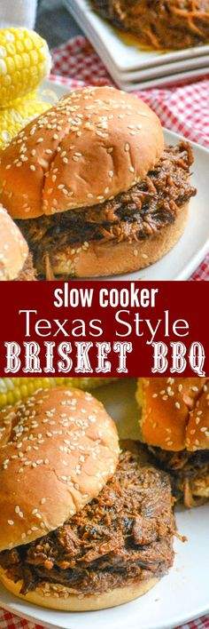 Slow Cooker Texas Style Barbecue Brisket Sandwiches Who doesn't love a good plate of barbecue? This Slow Cooker Texas Style Barbecue Brisket Sandwiches is easy, easy enough for any day. Piled high on fluffy buns, these sandwiches are a filling meal that's Crock Pot Slow Cooker, Crock Pot Cooking, Slow Cooker Recipes, Crockpot Recipes, Cooking Recipes, Cooking Food, Cooking Ideas, Delicious Recipes, Healthy Recipes