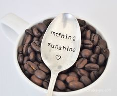 Morning Sunshine - Hand Stamped Vintage Coffee Spoon from jessicandesigns