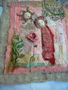 I just love textiles and embroidery the work here is wonderful. Fabric Art, Fabric Crafts, Sewing Crafts, Flower Fabric, Embroidery Art, Embroidery Stitches, Bloom Where Youre Planted, Creative Textiles, Fabric Journals