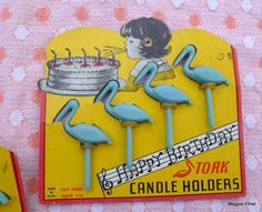 Vintage Birthday Candle Cards - Stork Candle Holders